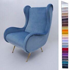 Marco Zanuso Senior armchair, Contemporary Collection in velvet, Italian
