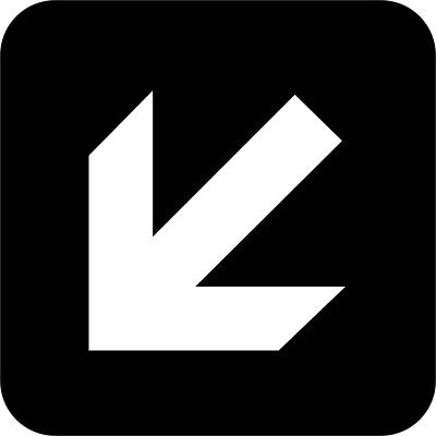 Arrow Down Left International Symbol Vinyl Decal Sticker Car Window Wall Printed
