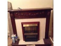 Fireplace dark wood wth inset