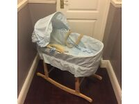 NEW FREE DELIVERY Baby boy rocking crib John Lewis Hood Blue cotton lining quilt mattress never used