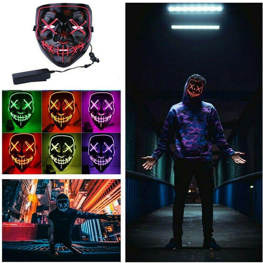 LED Maske mit 3 versch. Modi - Halloween / Horror / Party / Purge / Verkleidung