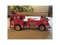 PinToy Red Wooden Fire Engine plus Pintoy Fire Fighters and Accessories