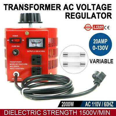 20Amp 110V Variac Transformer Variable AC Power Regulator 0-130V 20A Metered RED