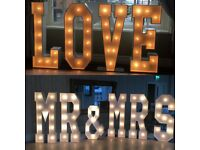 Hire our fabulous 5ft light up 'LOVE or MR & MRS letters from £200!!