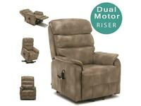 Buckingham Dual Motor Electric Riser Recliner Bond Leather Mobility Lift Chair in Stone
