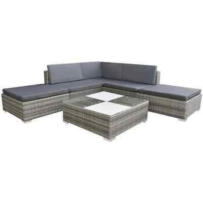 Garden Furniture - vidaXL Garden Sofa Set 15 Piece Poly Rattan Grey Outdoor Patio Furniture Seat