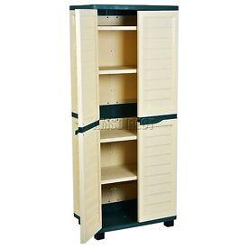 Outdoor Plastic Garden Utility Cabinet With 4 Shelves Green and Beige Garage Storage