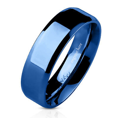 Personalized Wedding Rings (Personalized Engraved Blue Stainless Mens or Womens Wedding or Promise Band)
