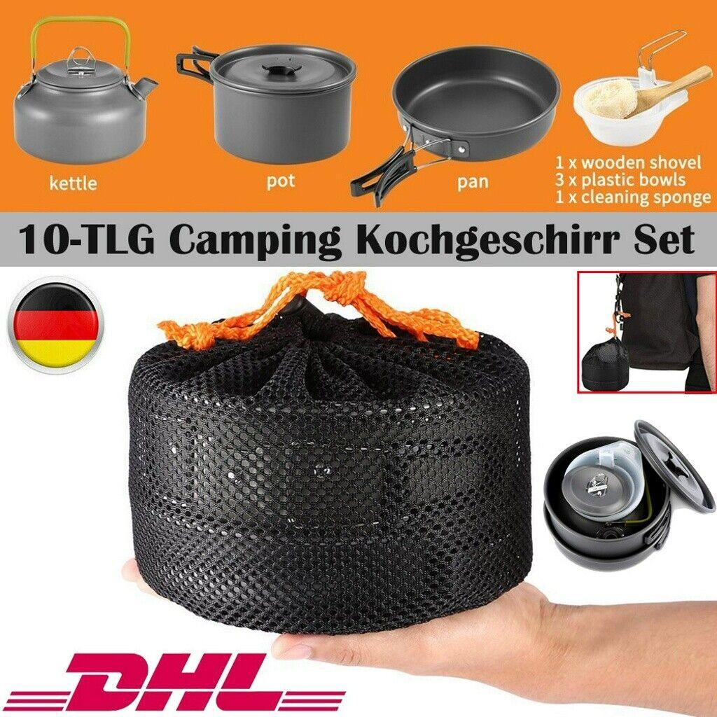 Outdoor Geschirr Set 10-TLG Camping Kochgeschirr Set Grillgeschirr Picknick Topf