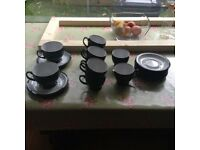 Denby Cups, Saucers, Milk Jug and Sugar Bowl