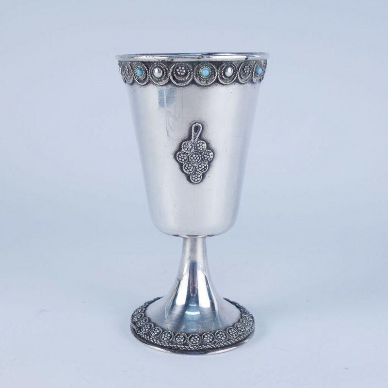 Vintage Israel 935 Sterling Silver Jeweled Filigree Grape Bunch Kiddush Cup