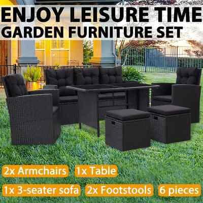Garden Furniture - vidaXL Garden Lounge Set with Cushions 6 Piece Poly Rattan Black Furniture Set