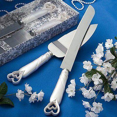 NEW Elegant Wedding Party Cake Stainless Knife & Server Set Interlocking Hearts