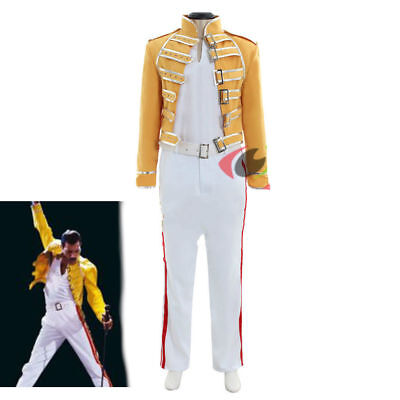 Queen Lead Vocals Freddie Mercury Cosplay costume queen band yellow outfit suit (Freddie Mercury Outfit)