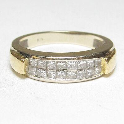 Estate 18K White And Yellow Gold 16 Princess Cut Diamond Band Ring 0.50 Cts