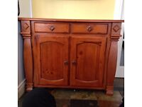 Cherry wood sideboard and matching mirror in excellent condition.