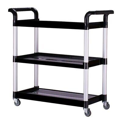 Oshion Heavy Duty Plastic 3 Shelf 330 Lbs Rolling Service Utility Push Cart