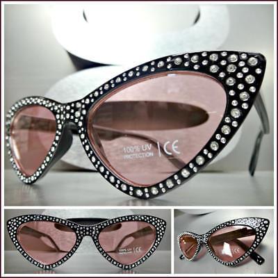 Nobler Retro Cat Eye Style Sonnenbrille Schwarzes Gestell Rosa Bling Strass