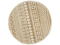 Handmade Rug Jute with White Print 90 cm-133692