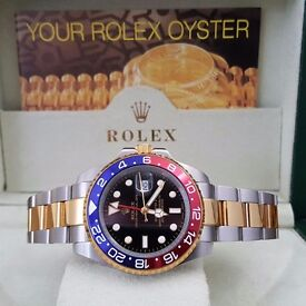 TwoTone Rolex Gmt Master II Pepsi Red/Blue Bezel Automatic Sweeping Hands
