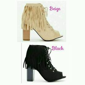 Suede Fringed Back, Open Toe Boots- 5,6,7...