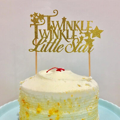 Cute Gold glitter Twinkle Twinkle Little Star Cake Topper Baby Shower