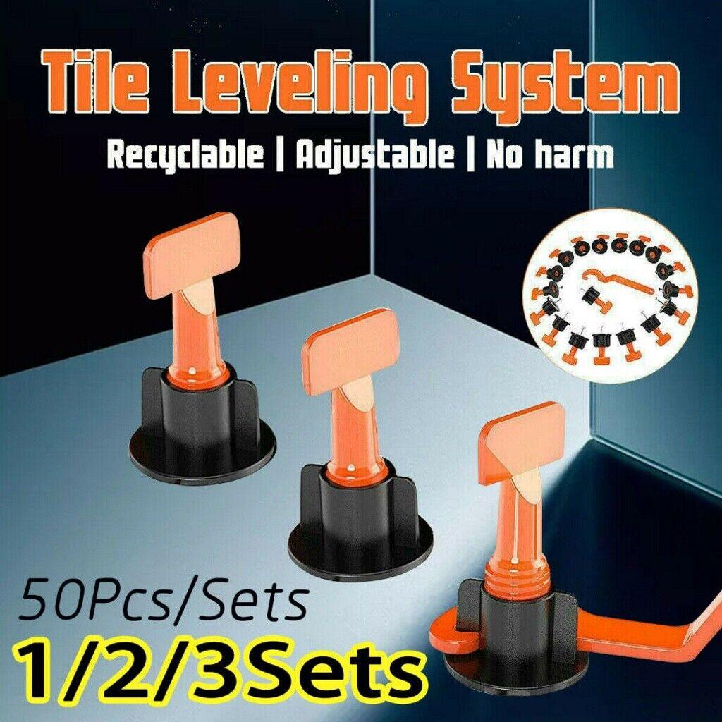 50pcs//Set Reusable Tile Leveling Positioning System Leveler T-lock Floor Tools @