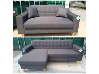 NEW Chaise Corner Sofa + 2 Seater Sofa Set Charcoal Grey DELIVERY AVAILABLE