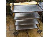 4 tier stainless steel catering trolley