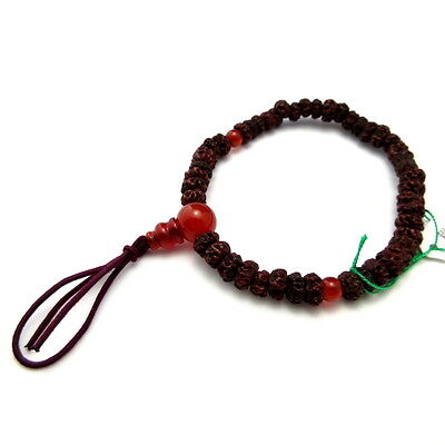 Bodhi Tree Wood & Red Agate Japanese Juzu Bracelet Rosary Prayer beads Kyoto