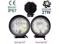 27W LED Flood/Spot Work Driving Light Lamp Car Van ATV Recovery PickupTruck SUV 4x4WD