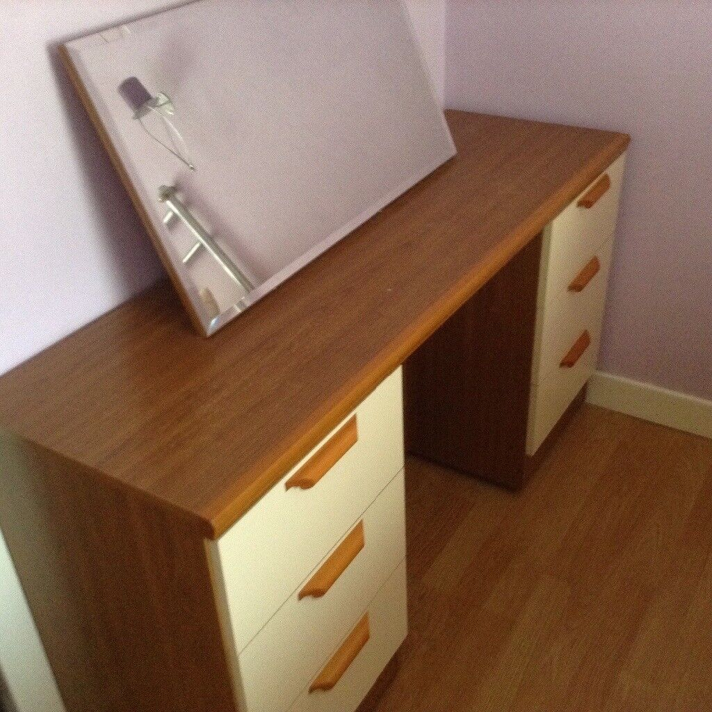 Teak and cream dressing table
