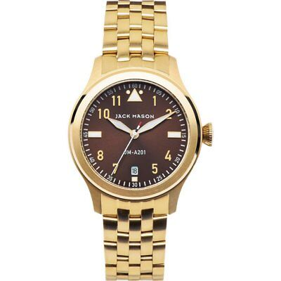 JACK MASON CHOCOLATE DIAL DATE GOLD-TONE ST.STEEL LADIES WATCH JM-A201-008 NEW
