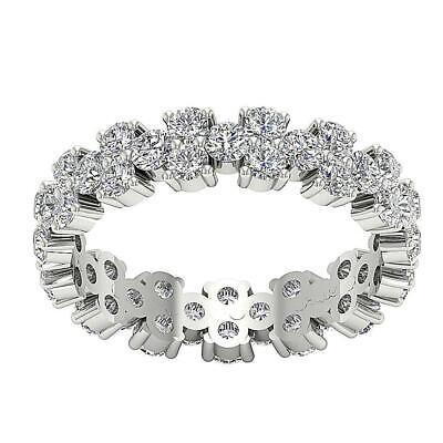 Eternity Wedding Ring Garland Three Row Natural Diamond I1 G 2.85 Ct 14K -