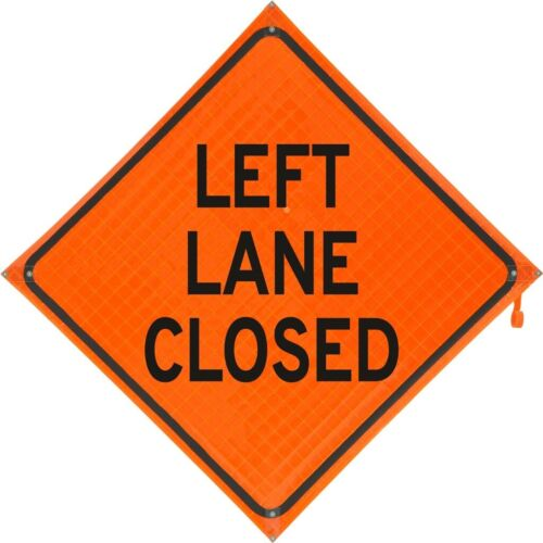 """""""Left Lane Closed"""" Fold and Roll Road Construction Sign 48"""" Orange Super Bright"""