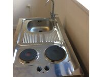 Mini kitchen 100 cm with sink, hot plate, fridge, cabinet. Perfect for studio