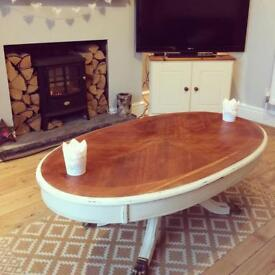 Oval cream coffee table - newly upcycled