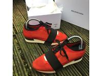Balenciaga red race runner trainers size 4