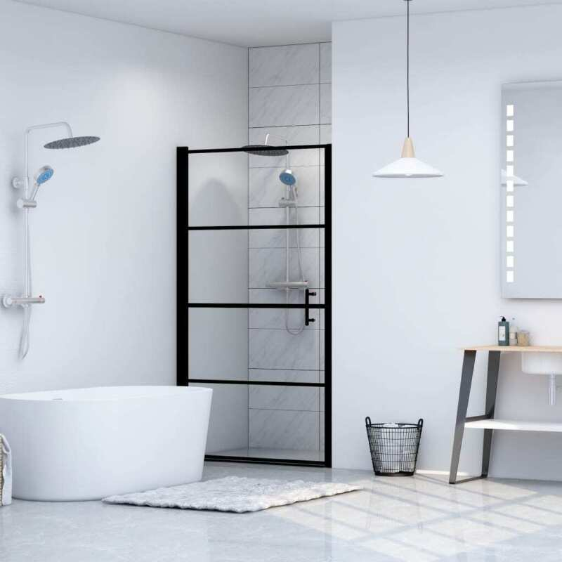 """Shower Door Tempered Glass 31.9""""x76.8"""" Black"""