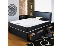 BRAND NEW DOUBLE POCKET ORTHOPAEDIC MEMORY FOAM SPRUNG DIVAN BED AND MATTRESS ON SPECIAL OFFER