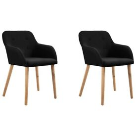 Dining Chairs 2 pcs Black Fabric and Solid Oak Wood-249073