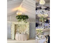 Wedding studio full of wedding hire items. COME AND VIEW flower walls, blossom trees, candelabras