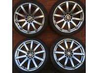 18 inch alloy wheels tyres vw golf caddy Audi a3 a4 seat leon skoda mazda Honda Civic Toyota alloys