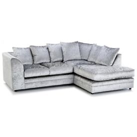 RIGHT HAND SILVER CRUSHED VELVET CORNER SOFA BUY NOW & GET A FREE MATCHING FOOTSTOOL ALL FOR 279.99