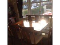 Large, heavy 8-10 seater dining table & chairs