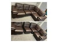 Brown leather corner sofa comes in 4 parts
