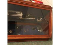 Display case with solid silver