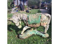 Weathered vintage stone horse