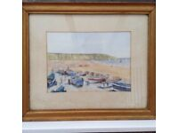 Filey cobble landing water colour painting