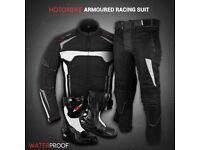 White Motowizard Suit- Jacket + Trouser + Boots(long)